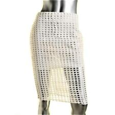 ENDLESS ROSE $78 White Cut Out Stretch Pencil SKIRT Lined SZ M NWT