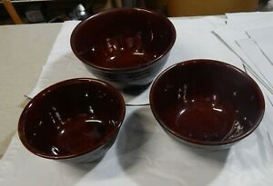 3 Vintage Marcrest Daisy & Dot Brown Pottery Nesting Mixing Serving Bowls