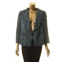 ANNE KLEIN NEW Women's Fringe Tweed Open Front Jacket Top TEDO