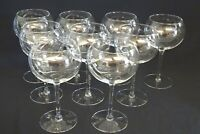"""Set of 9 Large Water Goblets - Bubble Round Shape 7 1/2"""""""