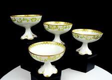 "CHARLES FIELD HAVILAND LIMOGES GREEN GILT VINE 4 PIECE 3 1/8"" PUNCH CUPS 1862-"