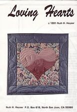 "Loving Hearts Quilting Pattern by Ruth H. Heyser, Interior approx. 16"" x 20"""