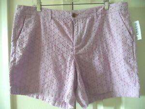 Must Have Color! Old Navy Lilac Light Purple Eyelet Cotton Fancy Short  L XL 14