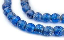Translucent Blue Ancient Style Java Glass Beads 9mm Indonesia Round Large Hole