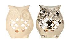 Modernes 2er Set Eule als Teelichthalter aus Keramik weiß und silber Höhe 15 cm