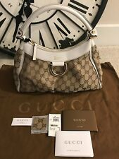 NEW GUCCI GOLD D RING ABBEY GUCCISIMMA GG CANVAS HOBO BAG BEIGE-white AUTH