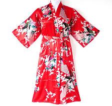 838-9 - Plus Size Peacock Japanese Kimono Robe Black Red White, Fits 1X 2X 3X