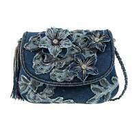 Mary Frances Good Jeans Blue Denim Flower Mini Beaded New Handbag Purse Bag New