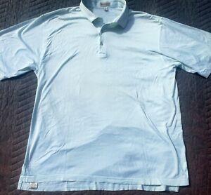 Peter Millar Mens XL Golf Cotton Polo Shirt White Green Striped Squire Creek CC