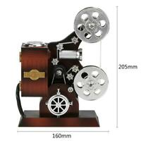 Retro Wood Metal Projector Model Music Box Antique Musical Jewelry Box Gift Toy