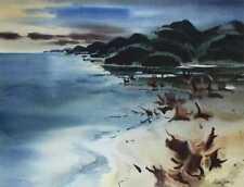 California Artist,Milford Zornes,Watercolor Landscape, Hawaii Beach? Seascape