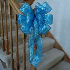 "10"" Wide Blue Glittered Christmas Bow For Decorations Wreaths Tree Crafts Gifts"
