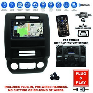 Plug-In GPS Navigation Bluetooth F-150 Car Stereo+2015-19 Ford F-Series Dash Kit