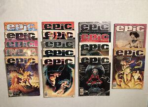 Marvel Magazine Epic Illustrated fantasy & science-fiction 16 Issue Lot '81-'84