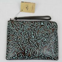 Patricia Nash Cassini Tooled Turquoise Italian Leather Zip Wristlet NEW $79