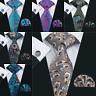 Classic Mens Ties Silk Red Black Blue Necktie Paisley Floral Plaids Tie Set Gift