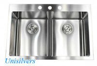 "33"" x 22"" Top mount Drop In 15mm Radius Stainless Steel Double Bowl Kitchen Sink"
