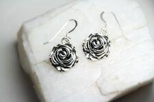 "Hooks pewter Charms 1 1/4"" Flower Rose Bud Charm Earrings .925 sterling silver"
