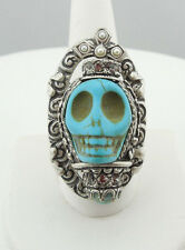 NEW SWEET ROMANCE OLLIPOP CRYSTAL & PEARL SUGAR SKULL QUEEN RING TURQUOISE