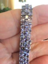 "Tanzanite 3-Row Tennis Bracelet Sterling Silver 7.5"" 22.55 g"
