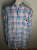 Vineyard Vines Button Down Shirt Classic Fit Tucker Shirt Plaid Pink Blue Large