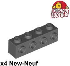 Lego - 4x Brique Brick Modified 1x4 4 Studs on 1 Side gris f/d b gray 30414 NEUF