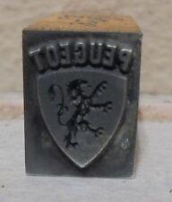 Vintage Peugeot Bang Metal Amp Wood Letterpress Printing Block Type