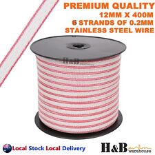 H&B MT0884 12mm X 400m Electric Fence Poly Tape with 6 Strands SS Wire