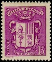 """ANDORRE FRANCAIS STAMP TIMBRE 52 """" ARMOIRIES DES VALLEES 15 C. LILAS """" NEUF x TB"""