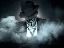 Framed Print - Anonymous Computer Hacker in Smoke (Picture Poster Virus Art)
