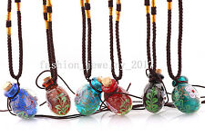 Wholesale 6pcs Flower Pendant Necklace Colorful Murano Glass Perfume Bottle FREE