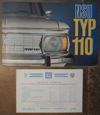 NSU TYP 110 orig 1965 UK Mkt Sales Brochure Prospekt + Price List