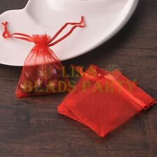 100pcs 16x11cm Organza Wedding Party Decoration Gift Candy Sheer Bags Red