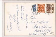 Triberg 1953 Schwimmbad Mi. 126 und Nr.167 Seltene Frankatur  nach Mannheim Käfe