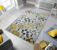 Cocktail Blossom Tree Floral Pattern Grey Ochre Rug in 3 Sizes Home Carpet