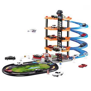 Kids 5 Level City Car Park Toy Garage Track Set 5 Cars Vehicles Petrol Station