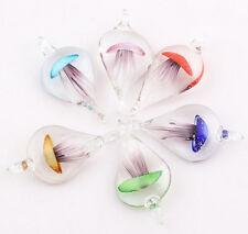 6 Colors Jellyfish Murano Lampwork Glass Pendant Necklace Fashion Jewelry Random