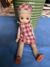 Vintage Unusual Marked Japan Matt Bisque Jointed Glass Sleepeyes Doll 7�