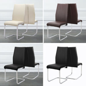2 4 6x CHROME DEEP FOAM FAUX LEATHER DINING CHAIRS SEAT METAL LEGS DINING CHAIR