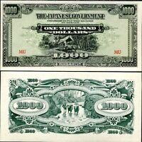MALAYA 1000 DOLLARS JAPANESE OCCUPATION P M10 UNC