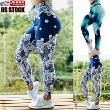 Women's Yoga Pants Gym Leggings Printed Sportswear Gym Running Fitness Trousers