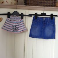 Girl's Marks and Spencer Denim Skirt Age 3-4 Years&Hat Age 3-6 Years