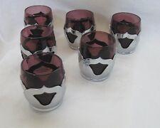 Art Deco Purple Glass & Chrome Set of 6 Shot Glasses by Farberware USA Amethyst