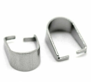"""20 Stainless Steel Pendant Pinch Bails Clasps Horseshoe Silver Tone 10mm( 3/8"""")"""