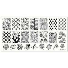 BPL 015 Forest Pattern Trees Theme Manicure Nail Art Stamp Template Image Plate