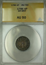 1786 Great Britain Silver Fourpence Groat 4P Coin ANACS AU-50