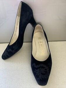Sz 5.5 36.5 BRUNO MAGLI Italy Dragon Embossed Black Leather Court Shoe Mid Heel