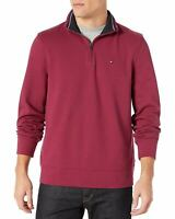 Tommy Hilfiger Mens 1/4 Zip Mockneck Sweatshirt (Wine, S)