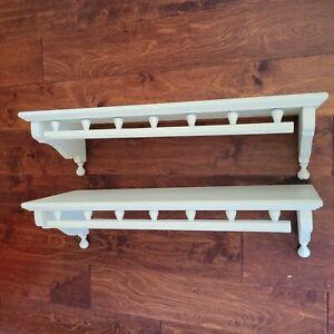 "Set of 2 Ethan Allen Heirloom Wooden  Wall Shelf 24"" White #10-3803 circa 1989"
