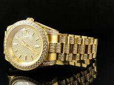 18K Oro Amarillo Hombre Acero Imitación Helado Diamante Presidencial Reloj 41MM